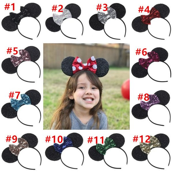 Baby Girls Bow Hair Sticks Big Sequin Bow Hairbands Cute Animal Mouse ears Headbands Children Hair Accessories Kids Party Wear 12 color