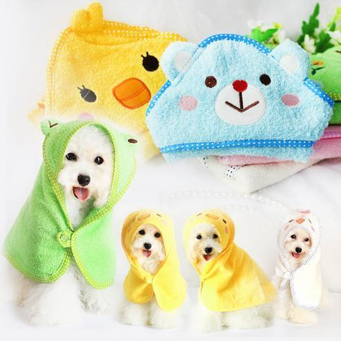 Wholesale- New Fashion Multifunction Cartoon Cute Small Size Towels for Pet Dogs Cats Pet Grooming Tool Dog Bathrobe Free Shipping