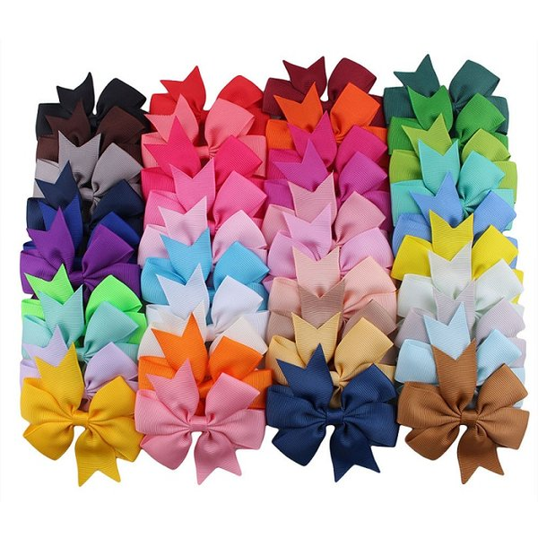 40colors baby girl big Ribbed ribbon fishtail bow barrettes Design Hair bowknot Children Headwear Kids Hairpin Girls Lovely Hair Accessory