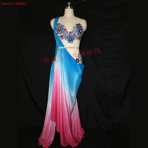 Luxury Women Belly Dance Suit Performance Costume Diamond Bra&Dress 2 Piece Set For Lady Bellydance Stage Competition Clothes