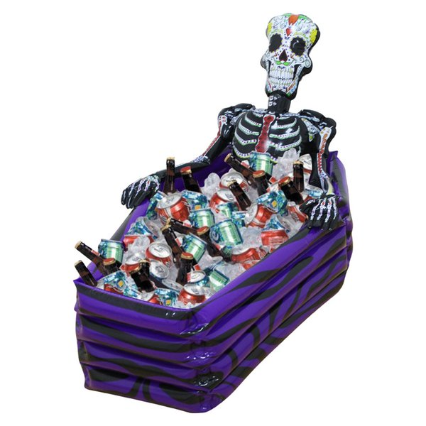 Large Outdoor Inflatable Skeleton Coffin Drink Cooler Ice Buckets Skull PVC Inflatable Toys Halloween Party Decorations Supplies