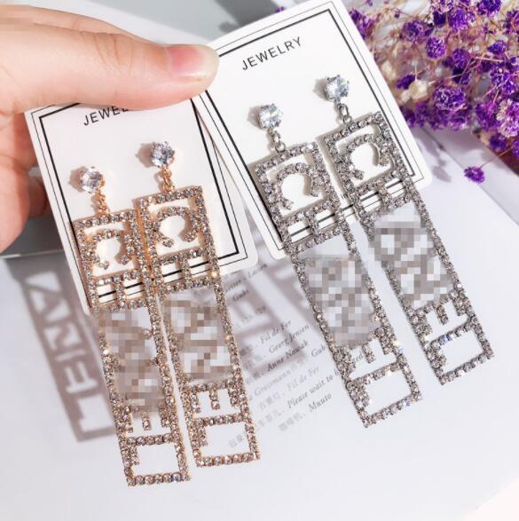 New fashion people earrings nightclub wind bling flash drill hollow letters long earrings women