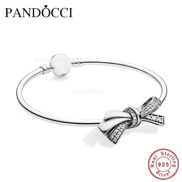 NEUE PANDOCCI 925 Sterling Silber Brilliant Bow Charm, Clear CZ Armreif 2018 Muttertagsgeschenke PANDOCCI