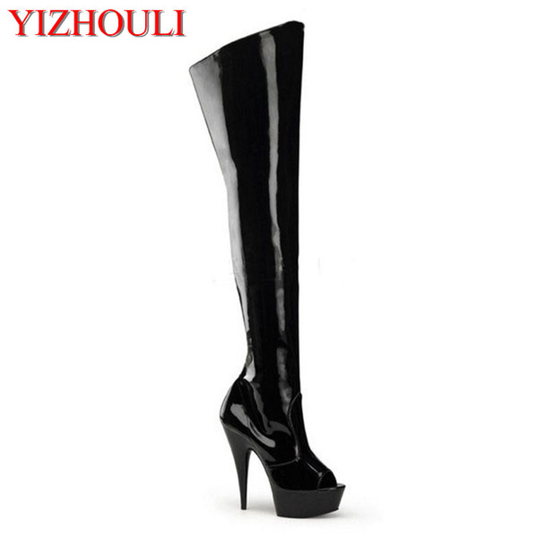sexy fish mouth 15 cm high heels with knee-high boots appeal conical with knee-high boots , pole dancing