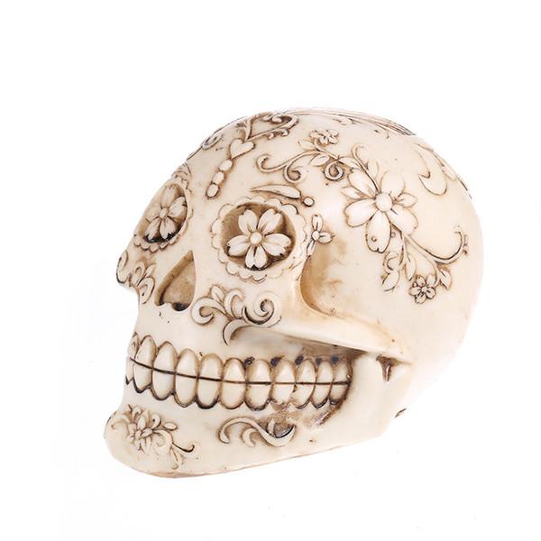 Halloween Main Résine Crâne Fleur Motif Décoration De La Maison Halloween Anniversaire Prunk Cadeau Art Artisanat Crânes Aquarium Maison Jardin Décor