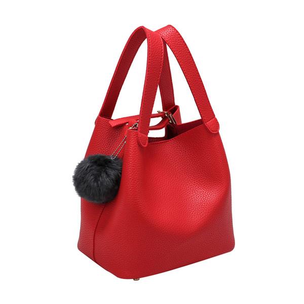 Fashion Autumn Winter Women PU Leather Handbag Solid Color Bag Plush Ball Decor Ladies Girls Casual Bucket Bags Popular