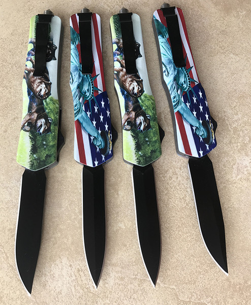 wholesale good OEM excellent defense automatic knife (4 kinds of styles) lightweight shank sturdy spring black blade tactical folding knife