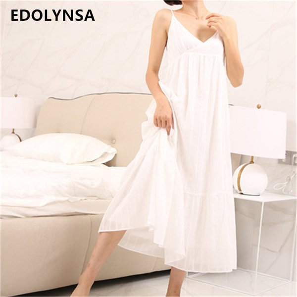 32a2a4dd66 2017 Summer Sleep Lounge Long White Cotton Nightgown Vintage Home Dress  Sleeveless V-neck Princess Sleep Dress Sleepwear  P132