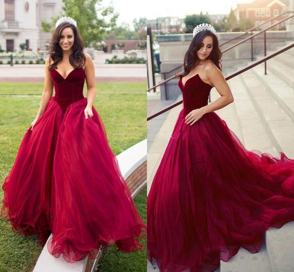 2019 Dark Red Velvet Sweetheart Evening Dresses Wear Sleeveless Puffy Tulle Long Sweep Train Party Quinceanera Plus Size Formal Prom Gowns