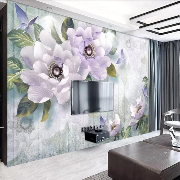 Großhandel 3D TV Hintergrund Wand Einfache Tapete Moderne Wohnzimmer Tapete  Europäischen Retro TV Hintergrund Wand Pfingstrose Wandbild Von Feifan66,  ...