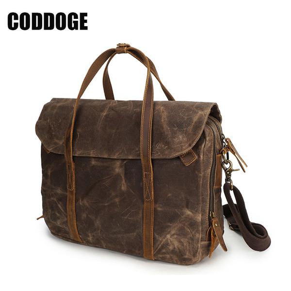 CODDOGE Vintage Men Briefcase Oil Wax Canvas Bags Handbags Cow leather handle Office Bags for Mens Messenger Bag Men Laptop Bag