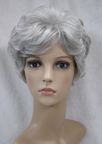 Beautiful Women lady Wig Short curly Silver Grey Synthetic Hair Wigs+wig cap