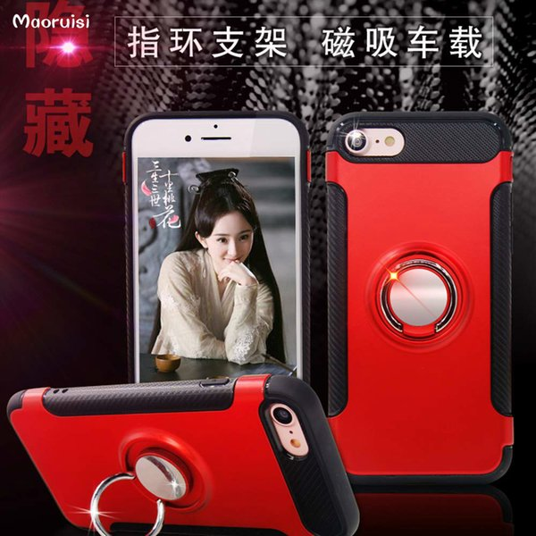 Case for iPhone 7 Plus Car Holder Stand Magnetic Suction Bracket Finger Ring TPU + PC Cover for iPhone 7 Phone Cases back cover