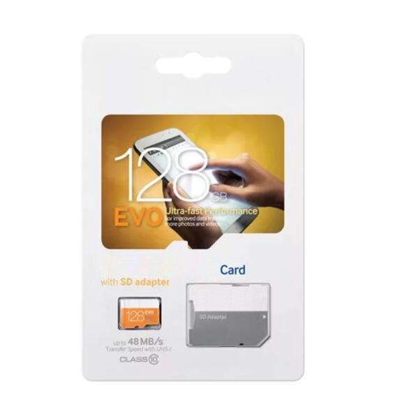 Sınıf 10 EVO 64GB 32GB 16GB 8GB Mikro SD Kart Micro SD TF Bellek Kartı C10 Flaş SDHC SD Adaptör SDXC Beyaz Turuncu Perakende Paket