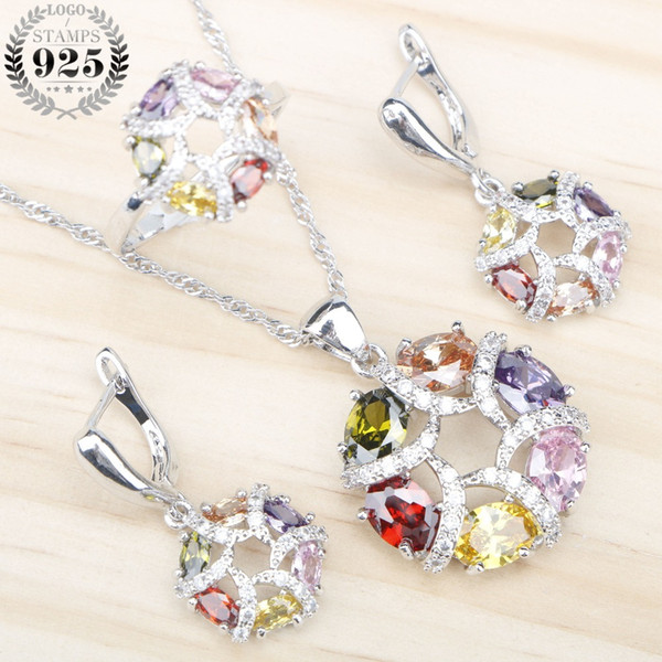 Toda vendaCustome Conjuntos de Jóias de Prata 925 Jóias Mulheres Moda Zircão Colorido Pingente de Colar Anéis Brincos Com Pedras Caixa de Presente