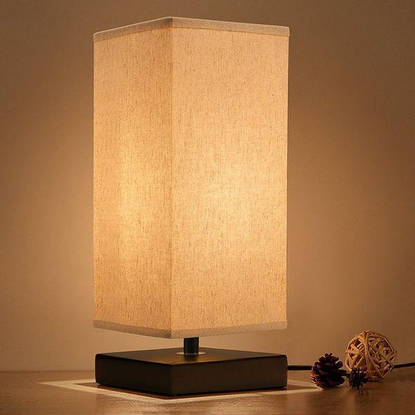 Nachttischlampe Minimalistisch Massivholz Tisch Nachtlicht Nachttischlampe Einfache Schreibtischlampen Runde Nachttischlampe mit Stoffschirm