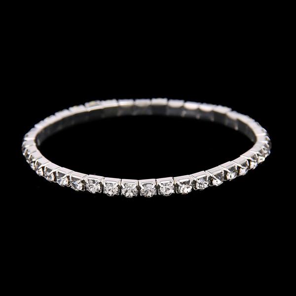 Liberi la nave a buon mercato 3 fila di allungamento del braccialetto d'argento strass Carino Prom Homecoming Wedding Party gioielli sera braccialetto accessori da sposa