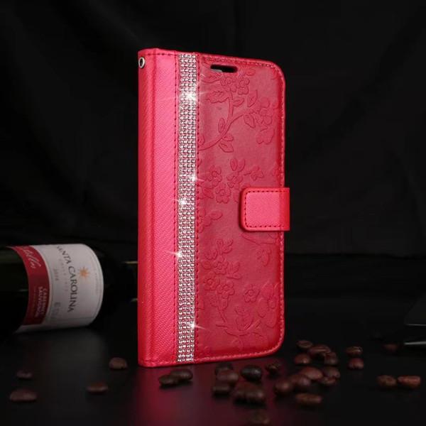 패션 꽃 블링 다이아몬드 지갑 플립 가죽 케이스 커버 아이폰 (11) 프로 맥스 XS 최대 XR X 8 7 6 6S 플러스를 들어 삼성 갤럭시 노트 8 S9 / 8 플러스