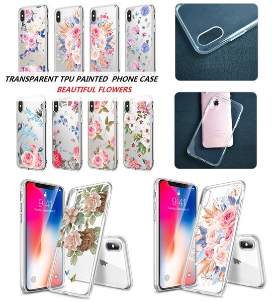 For Apple iphone 6 6S 8 7 plus X 5S Samsung Galaxy S7 Edge S8 S9 Plus Note 8 Soft TPU Summer Flower Painted Silicone Back Cover Shell