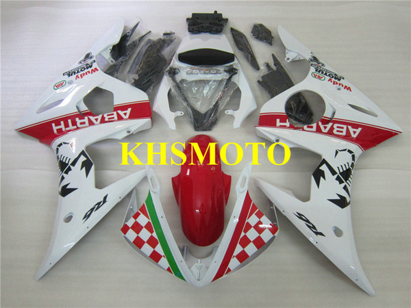 Custom Injection mold Fairing kit for YAMAHA YZFR6 03 04 YZF R6 2003 2004 YZF600 ABS Top Red white Fairings set+Gifts YN34