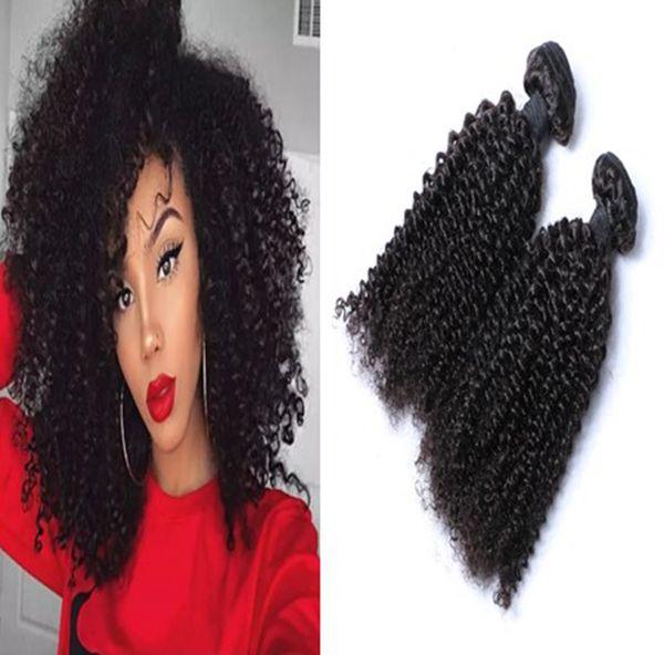 Afro Curl Capelli Vergini Tesse 3 Bundles Non Trasformati 8A Peruviano Malese Indiana Cambogiana Mongolo Crespi Capelli Ricci crespo Estensioni