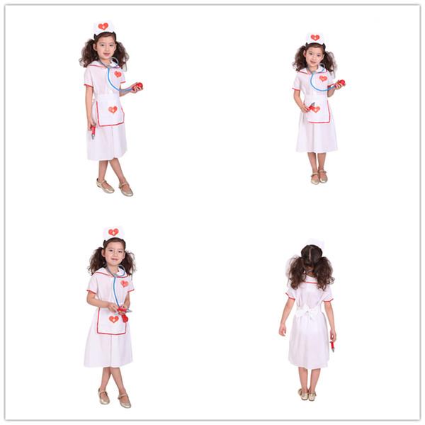 NEW Girls Hospital Nurse dress Costume Kids Halloween Cosplay costumes dress children role-play performance clothing HC33