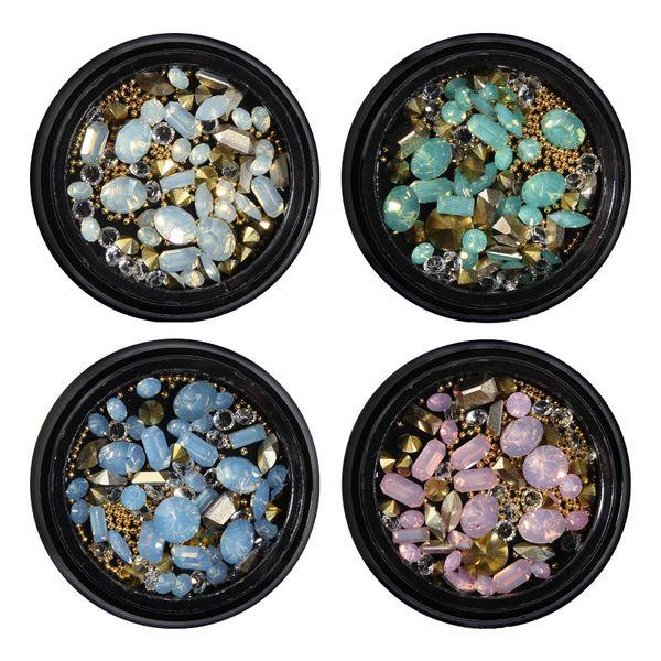 3D Tip Drill Mixed Shape Opal Nail Resin Rhinestones Gems Nail Charm Beads Studs Manicure DIY Nails Art Decorations Sticker