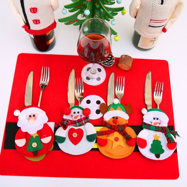 6PCS Christmas Decoration for Home Table Decor Cutlery Pocket Xmas Fork Knife Bag Snowman Tableware Christmas Ornament