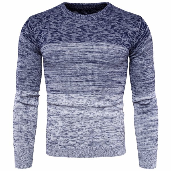 Vogue Nice New Mens Round Neck Gradient Color Sweater Moda Hombre Cotton Long Sleeve Sweater Hombre M-2XL Otoño Invierno