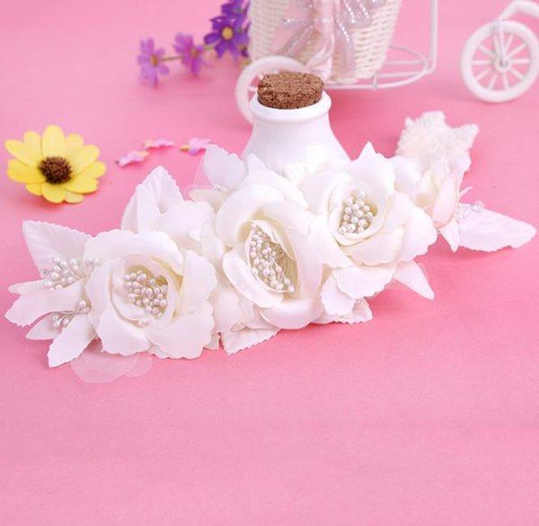 Korean handmade cloth head Flower Bridal headwear wedding accessories Wedding photo photography modeling pearl hair ornaments