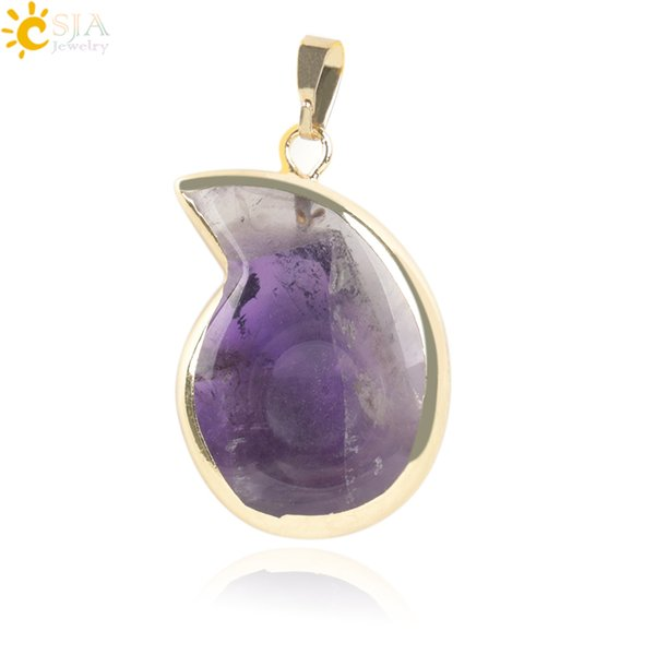CSJA 6 Colors 18K Gold Plated Sliders Natural Stone Statement Necklace Pendant Comma Shape Charms 2017 Summer Crystal Quartz Jewelry E267 A