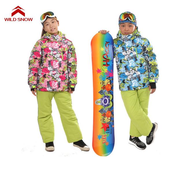 Wild Snow Boys Girls Ski Sets Winter Waterproof Windproof Kids Ski Jacket Children Outdoor Warm Hooded Snowboard Sports Suits