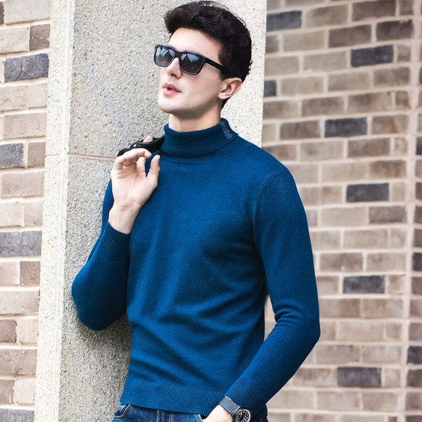 new Autumn Winter Men Turtleneck 100% wool Jacquard Sweater Thick Loose Pullover Winter Knitted Mens Jacket size S M L XL XXL