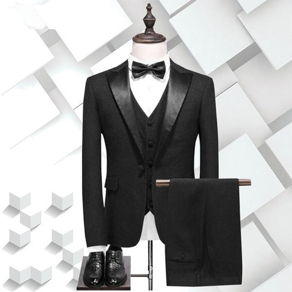 2018 Men Suits Black Wedding Suits For Man Business Custom Made Groom Tuxedo Formal Blazer Slim Fit 3Piece Party Prom Bridegroom Best Man