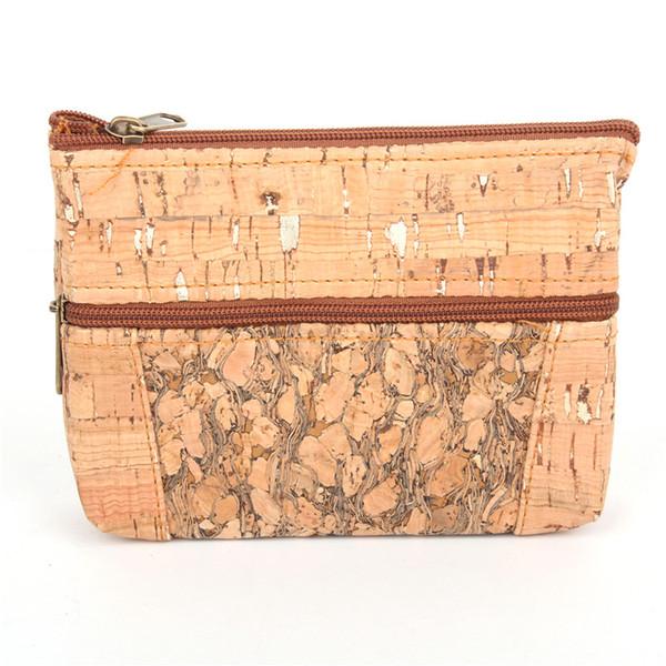 Natural cork handmade coin purse Double zipper women wallet skin of tree vegan high quality wooden Eco Bag