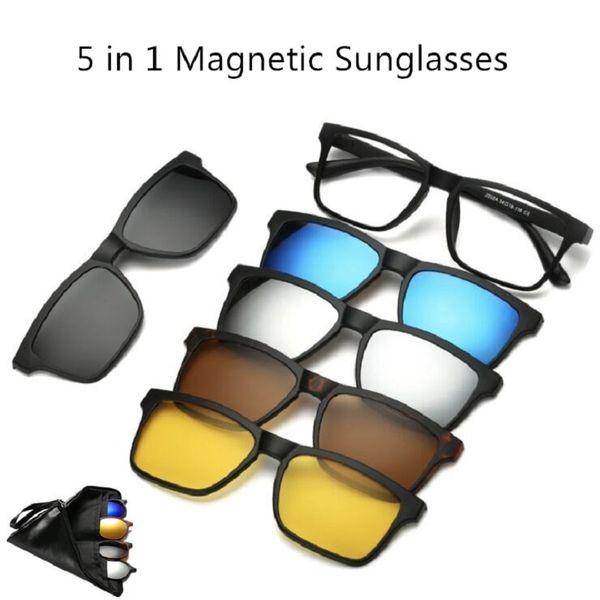 sito affidabile 9c1ee e68ec Acquista 5 + 1 Vestito Lenti Magnetiche Intercambiabili Occhiali Da Sole  Donna Occhiali Da Vista Occhiali Da Sole Polarizzati Occhiali Magnetici 24  ...