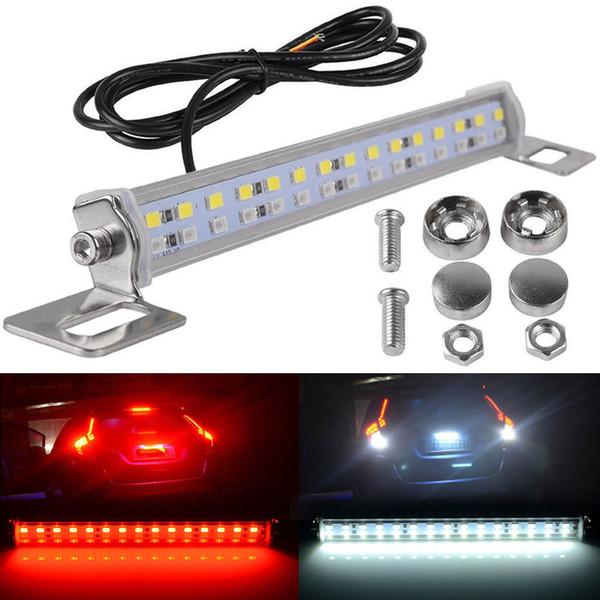 top popular Car 12V Reverse Backup 30 LED Lights License Plate Brake Rear Tail Light Lamp Bar Red+White Universal 2021