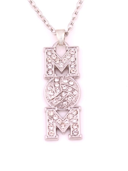 Mother's Day Gift Zinc Alloy Volleyball Mom Pave Clear Crystal Sports Charm Pendant Link Chain Necklaces