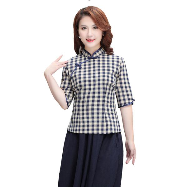 Shanghai Story Half Sleeve chinese Traditional Top Women's Blend Linen Lattice Blouse Chinese Cheongsam Top Plaid Print Qipao Shirt