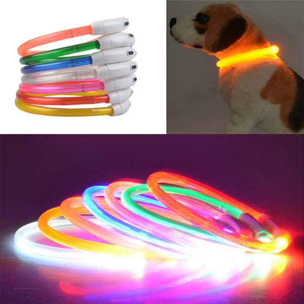 USB Charge Dog Training Collar LED Outdoor Luminous Pet Dog Collars Light Size Adjustable LED Flashing Dog Collar