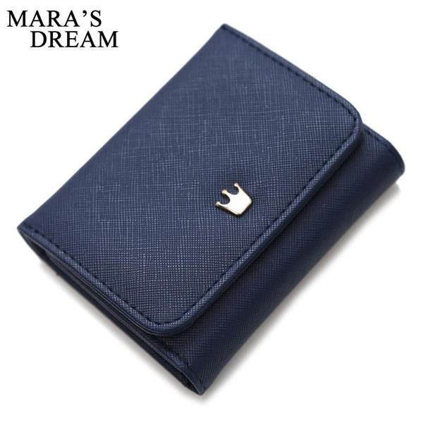Wholesale- Mara's Dream Wallet Female Crown Lady Short Women Wallets Mini Money Purses Fold PU Leather Bags Female Coin Purse Card Hold