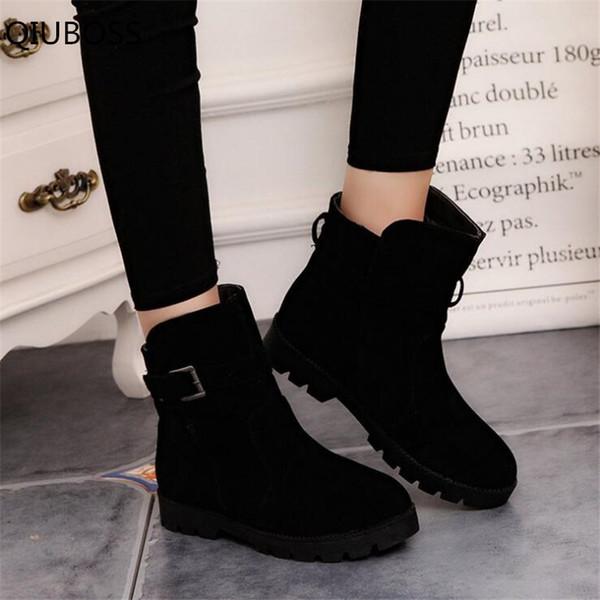 QIUBOSS moda donna Warm Snow Stivaletti fibbia antiscivolo Martin Stivali scarpe di alta qualità ragazze vendita calda stivali invernali Q663