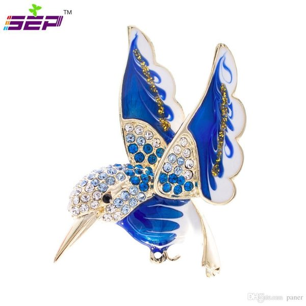 Wholesale- Hummingbird Brooch Animal Broach Crystals Rhinestone Pins for Women Jewelry Accessories Birthday Gifts 2493