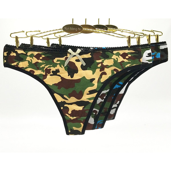 Lot of 12 Camo Low Rise Cotton Thong Lady Panties Sexy Army Color Women Underwear Lady G-string Girl Stretch T-back Hot Lingerie