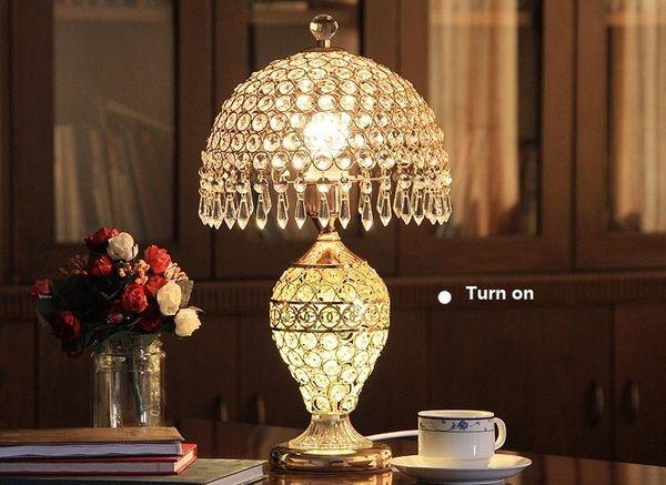 romantic european luxury Crystal Table Lamp Modern Art High Grade Eyeshield Desk Lamp For Bedroom Living Room Bedside Lamp LLFA