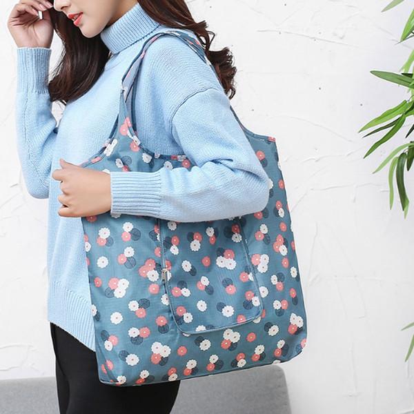 Yesello New Fashion Printing Pieghevole verde Shopping Bag Tote pieghevoli Pouch Borse Comode borse di stoccaggio di grande capacità