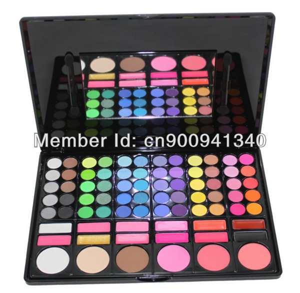 Free Shiping Cheap Beauty Product Series 3 #P78 78 Color Eyeshadow Cheek Blush Pressed Powder Make Up Set