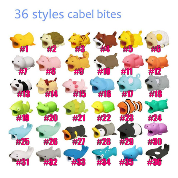 fashion cartoon toys design mobile phone charging cord protector usb cable mini head holder shockproof cable animal bites for phone cables