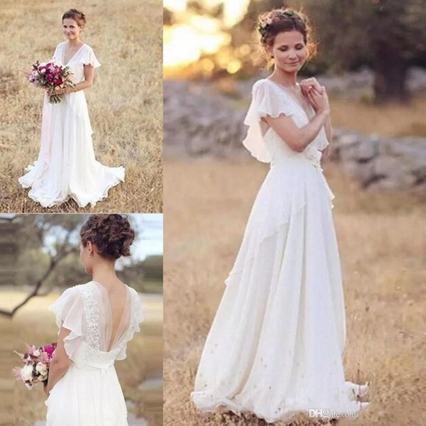 Country Western Boho Wedding Dresses With Cap Sleeves Lace Appliques V Neck Backless Chiffon A Line Beach Bridal Wedding Gowns Romantic