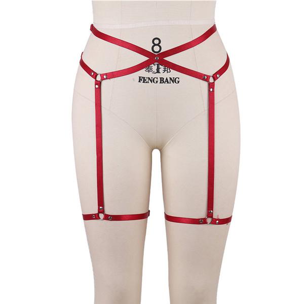 Frauen-reizvolles Bein-Strumpfband-elastischer Käfig-Körper-Höhle-Bein-Gurt-Suspender-Bügel-Unterwäsche-Bügel-Bein-Beleg-Klipp-rotes verlockendes Strumpfband-Geschlechts-Spielzeug